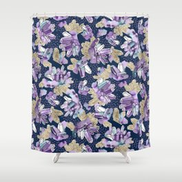Amethyst Crystal Clusters / Violet, Blue And Gold Shower Curtain