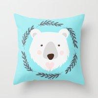 polar bear Throw Pillows featuring polar bear by Taranta Babu