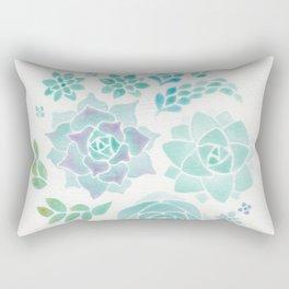 Watercolor Succulent Garden 3 Rectangular Pillow