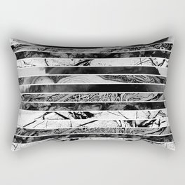 Black And White Layered Collage - Textured, mixed media Rectangular Pillow