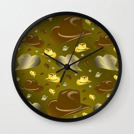 brown, golden pattern of little cowboy hats Wall Clock