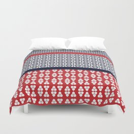 Japanese Style Ethnic Quilt Blue and Red Duvet Cover