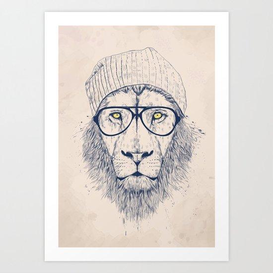 Cool lion Art Print