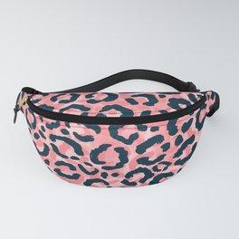Girly Artsy Pink Blue Leopard Animal Print Fanny Pack