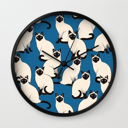 Siamese Cats on dark blue Wall Clock