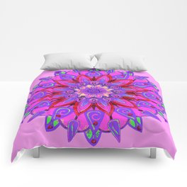 MANDALA OF PURPLE  & PINK ART DESIGN ART Comforters