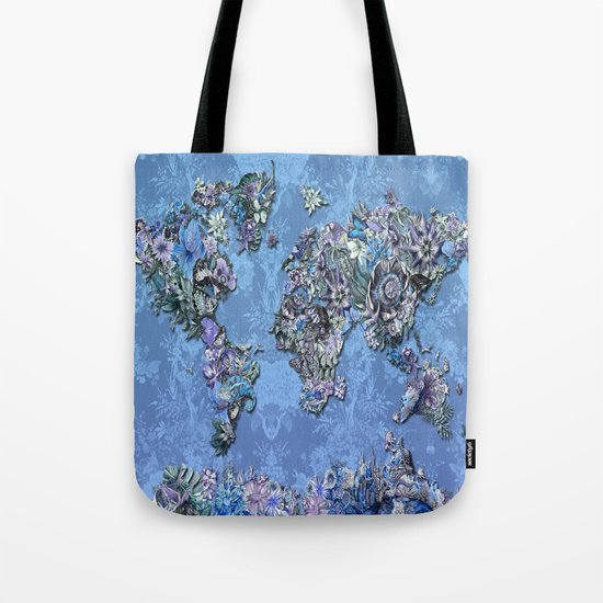 tropical floral world map 3 Tote Bag