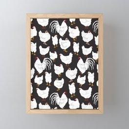 Chickens Barnyard Repeat Pattern Illustration Framed Mini Art Print