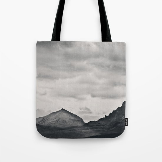 Mountain Peak and Plateau Black and White Tote Bag
