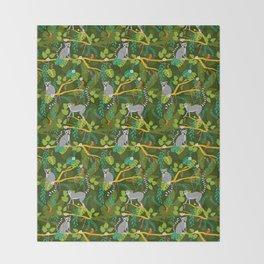 Lemurs in a Green Jungle Throw Blanket