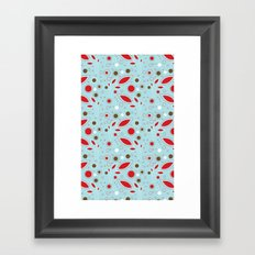 Retro blue and red pattern Framed Art Print