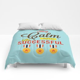 Lab No. 4 - Stay Calm and Be Successful Motivational Quotes Poster Comforters