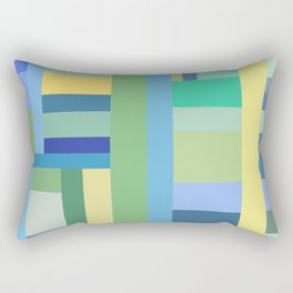 Abstract Blue Mint Green Geometry Rectangular Pillow