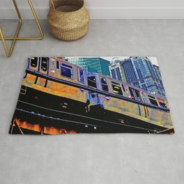 Chicago 'L' in multi color: Chicago photography - Chicago Elevated train Rug