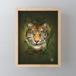 Tiger and Bamboo Framed Mini Art Print
