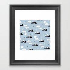 Cool winter wonderland snow Fuji Mountain geometric illustration pattern Framed Art Print