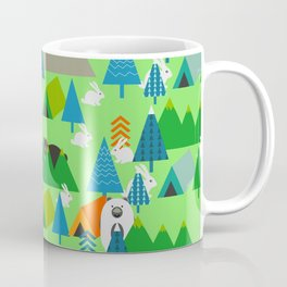 Forest with cute little bunnies and bears Coffee Mug