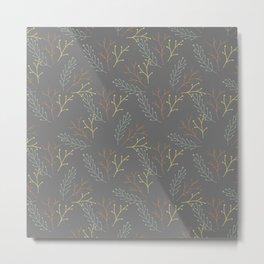 Autumn gray orange yellow green floral leaves Metal Print