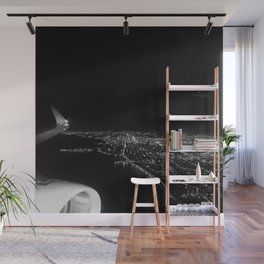 Chicago Skyline. Airplane. View From Plane. Chicago Nighttime. City Skyline. Jodilynpaintings Wall Mural
