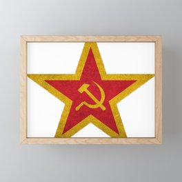 Russian Soviet CCCP Red Star Flag Framed Mini Art Print