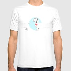 Long dog MEDIUM White Mens Fitted Tee