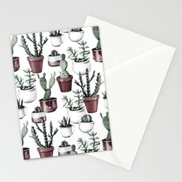 Happy Cacti in Rose Gold Pots Pattern Stationery Cards