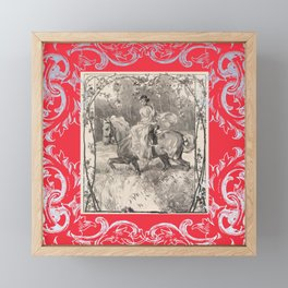 Lady in red on a horse Framed Mini Art Print