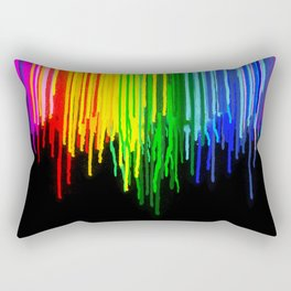Rainbow Paint Drops on Black Rectangular Pillow