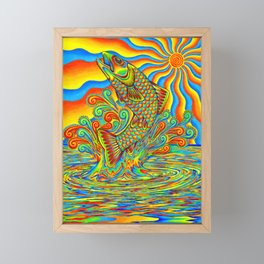 Psychedelic Rainbow Trout Fish Framed Mini Art Print