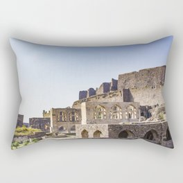Mughal Arches Lining the Walkway up Golconda Fort in Hyderabad, India Rectangular Pillow