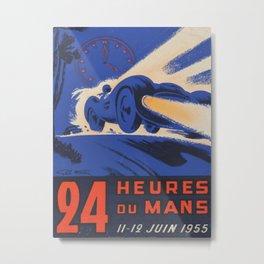 1955 Le Mans poster, vintage car poster, Le Mans poster, Metal Print