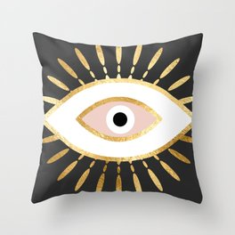 gold foil evil eye in blush Throw Pillow