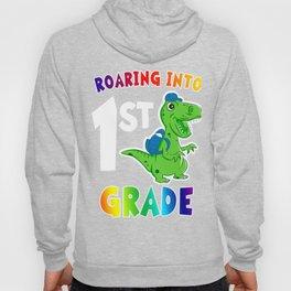 Roaring into 1st Grade T Rex Dinosaur Back to School Girls Hoody