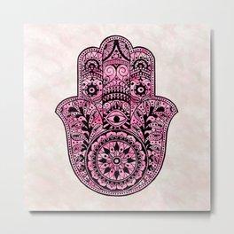 Watercolor Black  Pink Hamsa Hand Metal Print