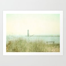 Two Boats and a Lighthouse Art Print