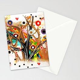 Christmas candy cane Rainbow Birds swirls  winter night  Stationery Cards