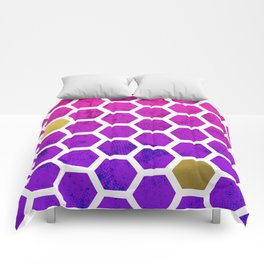 modern floral and gold Comforters