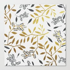 Grey leaf with golden touch #society6 Canvas Print