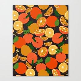 Oranges on black Canvas Print