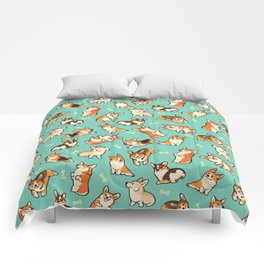 Jolly corgis in green Comforters