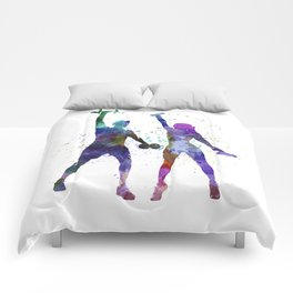 woman exercising with man coach Comforters