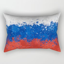 Russian Flag - Messy Action Painting Rectangular Pillow