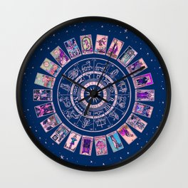 Major Arcana & Wheel of the Zodiac | Pastel Goth Wall Clock