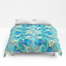 Seamless Wave Spiral Abstract Pattern Comforters