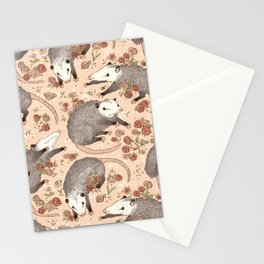 Opossum and Roses Stationery Cards