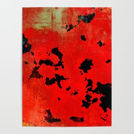 Red Modern Contemporary Abstract Textured Design Poster