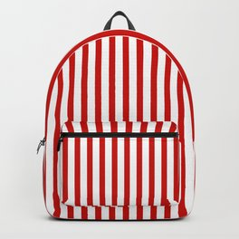 Red & White Maritime Vertical Small Stripes - Mix & Match with Simplicity of Life Backpack