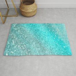 Aqua Teal Ocean Glitter #1 #shiny #decor #art #society6 Rug