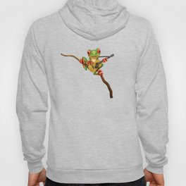 Cute Green Tree Frog Playing an Old Acoustic Guitar Hoody