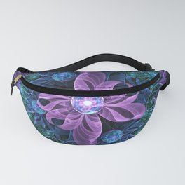 Bejeweled Butterfly Lily of Ultra-Violet Turquoise Fanny Pack